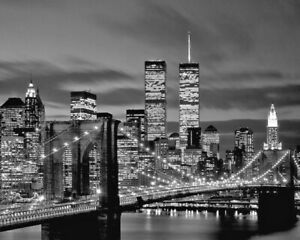 New York BROOKLYN BRIDGE and Twin Towers Glossy 8x10 Photo Print Wall Art Poster