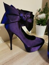 Zapato de taco alto púrpura de oficina de raso.. Dairy Milk. Boda Formal UK 6 EU 39