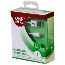 One For All Cc3315 Nickel Plated Connectors Charge & Sync Micro Usb 3m Cable