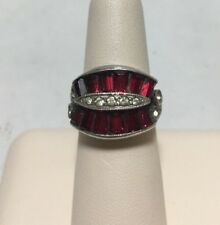 Women's Sterling Silver Ring With Clear CZ and Simulated Ruby Stones ~ Size 5.25