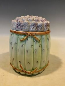 Made in Italy  Asparagus Bunch Covered Pot Jar Canister Country Farmhouse Decor