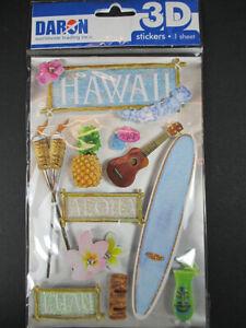 Hawaii USA America, 3 D Sticker Set 11 PC Travel Souvenir, New