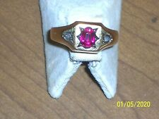 VINTAGE 1930 S-40 S MEN'S 14K GOLD RING WITH A RUBY