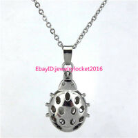 """Silver Ladybug Pearl Bead Cage Locket 18"""" Stainless Steel Chain Necklace -K117"""