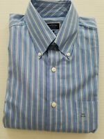 Club Room Mens 16.5 34/35 Blue White Double Stripe Regular Fit Dress Shirt NWT