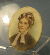 Victorian Miniature painted portrait of a lady in a bonnet