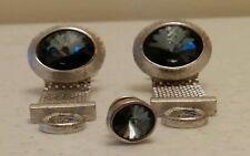 Vintage 3 Piece Set Dante Designer Wrap Around Silvertone Blue Stone Cufflinks!