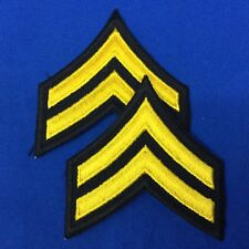 """Police Corporal Stripe Patches 3"""" Black With Yellow Emb. Set of 2 lot# P17-11"""