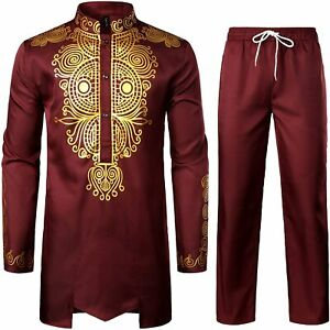 LucMatton Men's African 2 Piece Set Long Sleeve Gold Print Dashiki and Pants Out