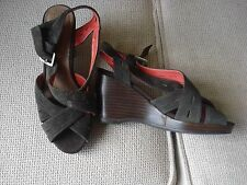 Marks and Spencer Footglove Size 3 Leather Brown Wedge Heels Shoes Sandals