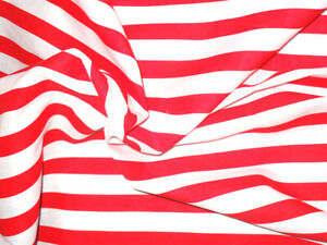Red & White Striped Fabric Material POLY COTTON Crafts Quilting Sewing 1M