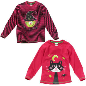Halloween Girls Novelty Witch Magic Cat Character Long Sleeve Top Pink Stripe