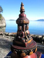 "BEAUTIFUL LARGE 6"" TIBETAN BUDDHIST STUPA CHORTEN STATUE 3 BUDDHAS ALTAR/SHRINE"