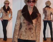 GOTHIC ANIMAL PRINT BEIGE BROWN CROPPED JACKET SOFT FAUX FUR COLLAR S M