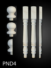 Solid Pine 90mm Turned Colonial Newel Post Set C/W 3 Caps and Posts