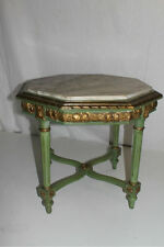 Authentic French Louis XVI Style Hand Painted Side Table, Marble Insert, C.19th