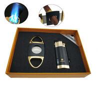 Windproof 3 Torch Jet Flame Cigar Lighter Cutter Set Butane Gas Gift Cigar Punch