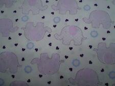 Rose & Hubble - Elephants - Pink.  100% Cotton