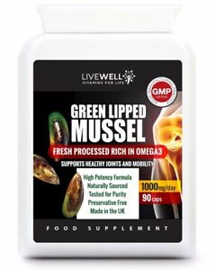 Green Lipped Mussel For Dogs & Humans Joint Health Arthritis 500MG 90 Capsules