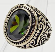 MEN RING PERIDOT SILVER STAINLESS STEEL CARVED VINTAGE ANTIQUES LOOK SIZE 9.5