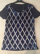 Next Signature Blue Sequin Short Sleeve Top Size 6 - fit 6 - 10 BNWT RRP £42