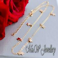 925 Sterling Silver Rose Gold Plated Choker Necklace with STAR Pendants