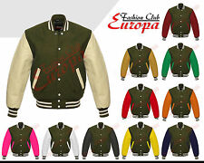 Olive Green Varsity  Letterman Wool Jacket with Real Leather Sleeves XS-4XL
