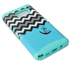 For Samsung Galaxy Note 5 -HARD&SOFT RUBBER HYBRID SKIN CASE BLUE CHEVRON ANCHOR