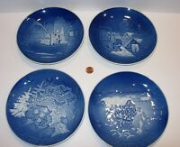 """4 B&G Bing & Grondahl Denmark blue christmas Plates 1976 1977 1981 1982 7.25"""""""