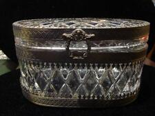 Clearance! $2200 Estate Heavy Baccarat Style Cut Crystal Silver Bronze Box!