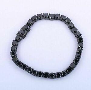 14k Black Gold Over 7.50 Ct Round Cut Black Diamond Tennis Bracelet Men's