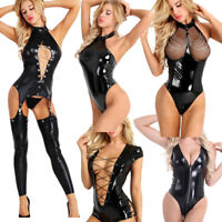 Women's Leather Leotard Bodysuit Zipper Lace up Jumpsuit Catsuit Clubwear Romper