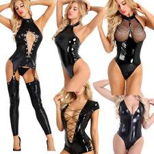 Sexy Wetlook Leather Catsuit Women Zip Crotch Jumpsuit Bodysuit Clubwear Lingeri