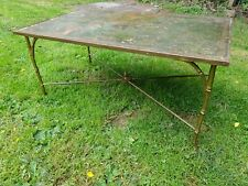 More details for rare vintage mid 20th century faux bamboo coffee table  - metal legs and base
