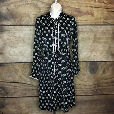 3a50a62f62c3 Modcloth Womens 1X Tunic Dress Long Sleeve Black Geo Printed Tie Front NEW