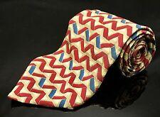 Black Label by Bill Blass 100% Silk Neck Tie Square Red White Striped Classic