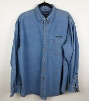VTG NISSAN Motor Co Embroidered Denim Shirt by Swingster 100% Cotton Men's Sz XL