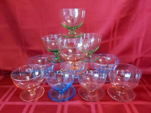 Mix of 11 Vintage cocktail/party color glasses a bit different size and color
