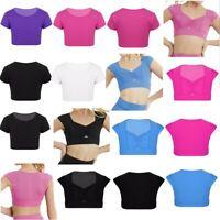 Kids Girls Plain Solid Color T Shirt Ballet Dancing Sports Gymnastic Crop Tops