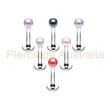 Pearl Colour Ball Labret Stud Lip Bar Ring Monroe Piercing CHOOSE LENGTH COLOUR