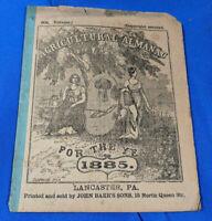1885 John Bear Baer's Agricultural Almanac Lancaster, PA Antique Farmers VTG
