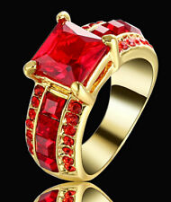 Lady/Women's 14KT Yellow Gold Filled Ruby Wedding Ring Gift size 7 Valentine