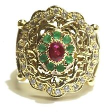 18k yellow gold ruby emerald cubic zirconia cz ladies ring 10.3g estate