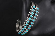 BELL STERLING SILVER CUFF BRACELET SEVERAL TURQUOISE CABOCHON STONES 925 8353