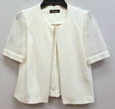 NINE WEST Size 4 White Mesh Perforated Short Sleeve Hook Eye Jacket Blazer