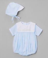 NWT Petit Ami Blue Train 2 piece Romper Newborn Hat Baby Boys Bubble