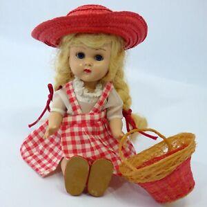"Vintage 1950's Vogue 7.5"" Ginny Doll Straight Leg Walker Blonde Pigtails Clothes"