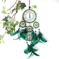 5 Rings Dream Catcher with Green Feather Wall Hanging Home Car Decor