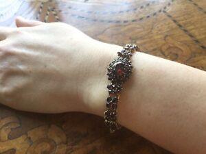Lovely Antique Victorian Natural Garnets Bracelet