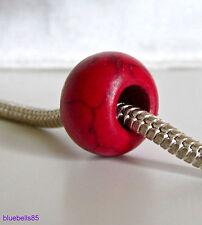 Bright RED Howlite STONE BEAD For 3mm European Charm Bracelet